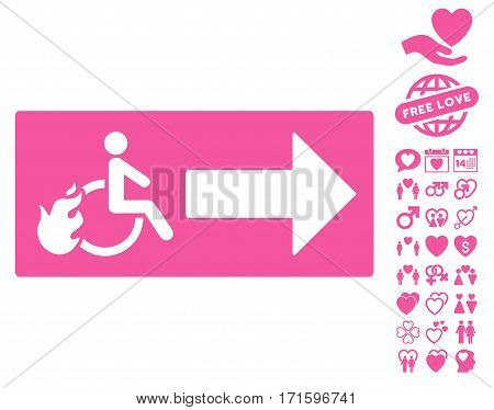 Patient Exit pictograph with bonus romantic pictograph collection. Vector illustration style is flat iconic pink symbols on white background.