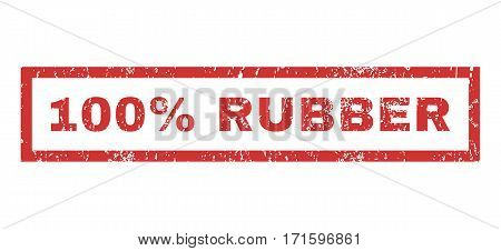 100 Percent Rubber text rubber seal stamp watermark. Tag inside rectangular banner with grunge design and scratched texture. Horizontal vector red ink emblem on a white background.