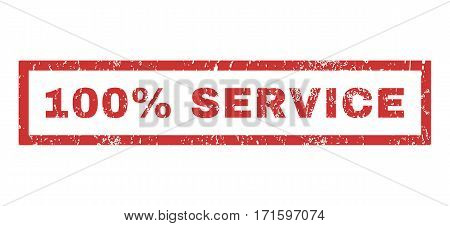 100 Percent Service text rubber seal stamp watermark. Tag inside rectangular banner with grunge design and dust texture. Horizontal vector red ink emblem on a white background.