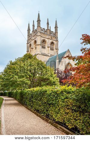 Garden and Chapel tower of Merton College. Oxford University Oxford England