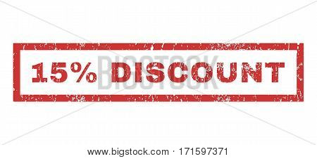 15 Percent Discount text rubber seal stamp watermark. Caption inside rectangular banner with grunge design and dust texture. Horizontal vector red ink emblem on a white background.