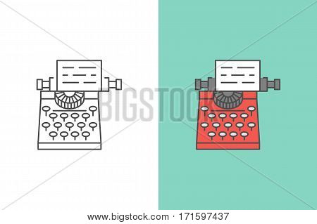 Typewriter vector logo and flat style icon