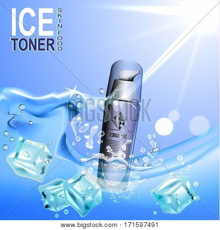 Ice toner contained in the bottle c dispenser on the background of water and ice cubes, 3D illustration