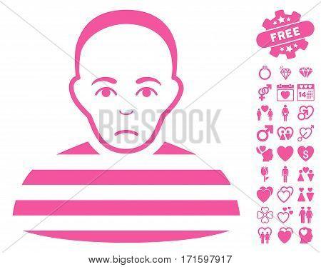 Prisoner pictograph with bonus valentine icon set. Vector illustration style is flat iconic pink symbols on white background.
