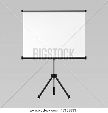 Blank realistic tripod portable projection screen mockup