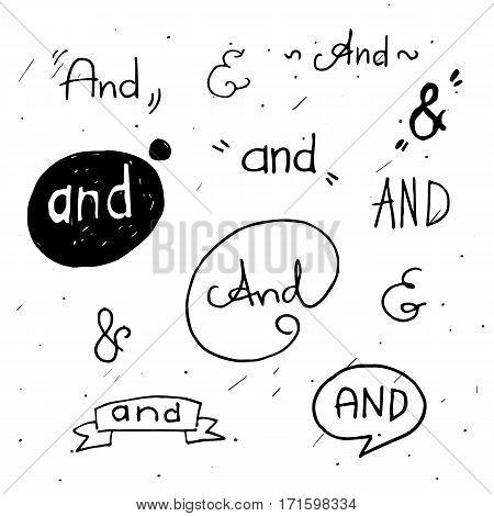 Hand lettered ampersands with doodle design elements