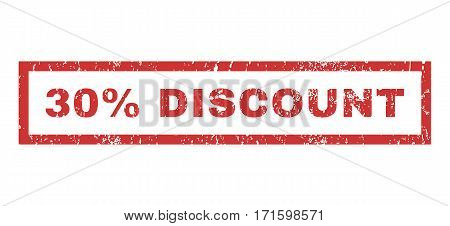 30 Percent Discount text rubber seal stamp watermark. Tag inside rectangular banner with grunge design and unclean texture. Horizontal vector red ink sticker on a white background.