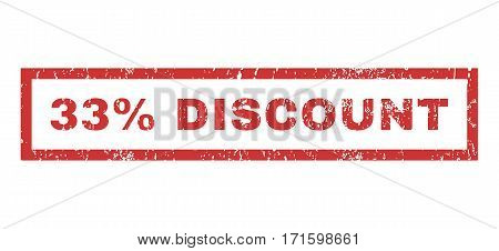 33 Percent Discount text rubber seal stamp watermark. Tag inside rectangular shape with grunge design and dust texture. Horizontal vector red ink sign on a white background.