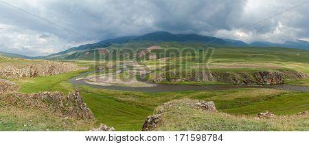 Steppe Kazakhstan Trans-Ili Alatau plateau Assy river-bed of the mountain rivers