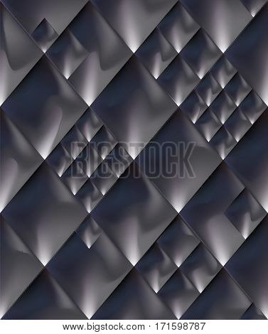 Abstract steel dark gray space metal seamless pattern background. Vector illustration metallic glowing surface geometric ornament. Iron aluminium titanium silver dragon scale tile skin snake