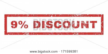 9 Percent Discount text rubber seal stamp watermark. Caption inside rectangular banner with grunge design and dirty texture. Horizontal vector red ink emblem on a white background.