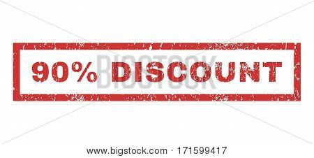 90 Percent Discount text rubber seal stamp watermark. Caption inside rectangular shape with grunge design and dirty texture. Horizontal vector red ink sign on a white background.