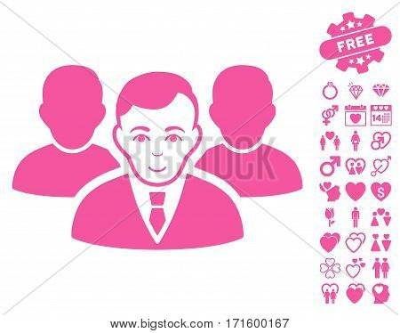 Team pictograph with bonus decoration pictograph collection. Vector illustration style is flat iconic pink symbols on white background.
