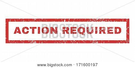 Action Required text rubber seal stamp watermark. Tag inside rectangular shape with grunge design and dirty texture. Horizontal vector red ink sticker on a white background.