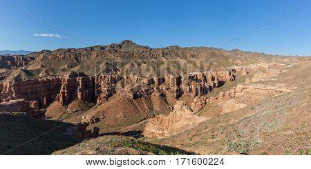 Charyn canyon in Almaty region of Kazakhstan. Beautiful view of the canyon