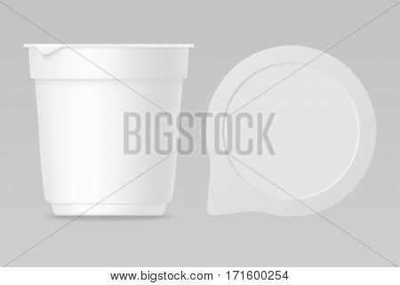 Yogurt realistic mockup for package design with empty lid