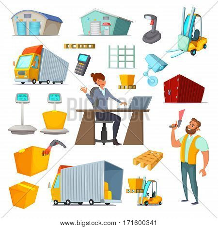 Warehouses character and object design set. Delivery and storage goods. Cartoon vector illustration
