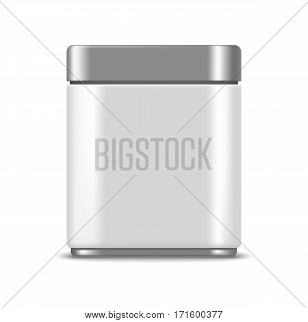 Metallic box realistic mockup for package design