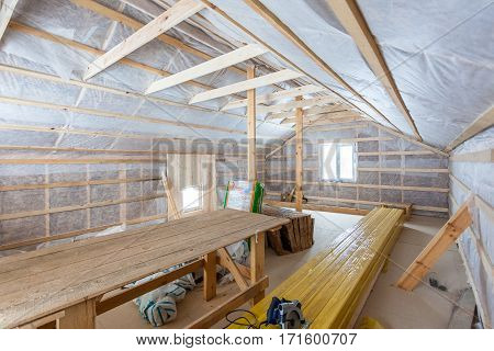 the interior of the frame house in process of construction village