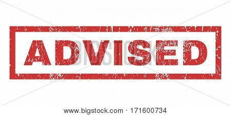 Advised text rubber seal stamp watermark. Caption inside rectangular shape with grunge design and dirty texture. Horizontal vector red ink sign on a white background.