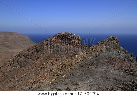Beautiful Volcanic Mountains . Panoramic View On Fuerteventura