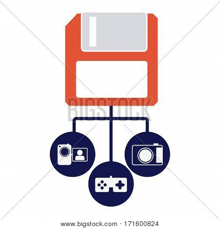 diskette server icon stock, vector illustration design