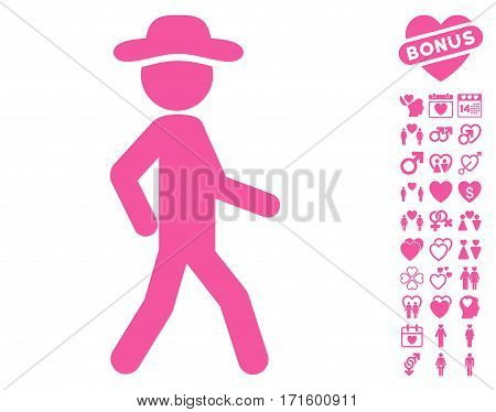 Walking Gentleman icon with bonus decoration clip art. Vector illustration style is flat iconic pink symbols on white background.