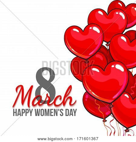 Happy womens day, 8 March greeting card, banner design with red heart shaped balloons, cartoon, vector, illustration. 8 March, womens day greeting card template with heart shaped balloons