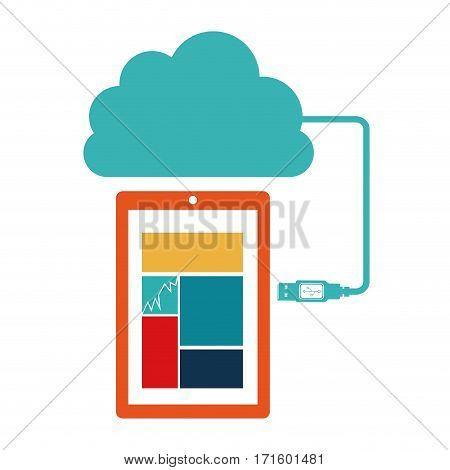smartphone database server icon stock, vector illustration