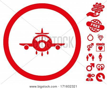 Aircraft pictograph with bonus decoration pictograph collection. Vector illustration style is flat iconic red symbols on white background.