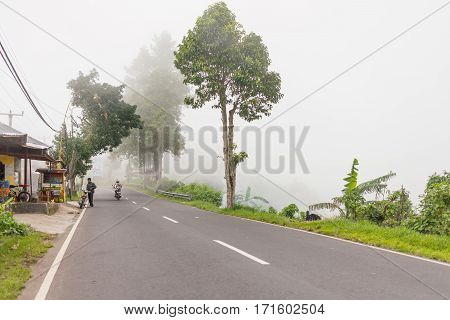 KINTAMANI INDONESIA - January 26 2013. Heavy fog on the road bad weather for driving motorbike. Road through misty evergreen jungle forest. Winter rainy season. Indonesia.