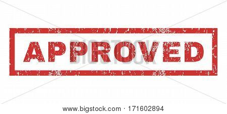 Approved text rubber seal stamp watermark. Caption inside rectangular shape with grunge design and dust texture. Horizontal vector red ink sign on a white background.