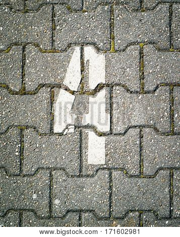 Number four on pavement