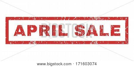 April Sale text rubber seal stamp watermark. Caption inside rectangular banner with grunge design and dust texture. Horizontal vector red ink sign on a white background.