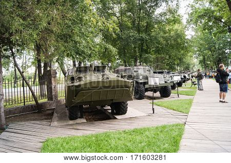 Moscow, Russia - 3 September, A number of military vehicles, 3 September, 2016. Museum of military equipment and retro cars.