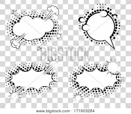 Set Comic Speech Bubbles With Halftone Triangles Shadows. Vector Illustration Eps 10 Isolated On Bac
