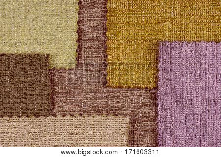 Multi color fabric texture samples. Abstract background empty template.