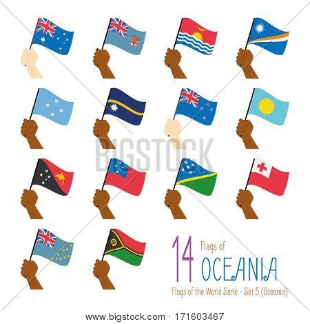 Set of 14 flags of Oceania. Hand raising the national flags of 14 countries of Oceania. Icon set Vector Illustration.