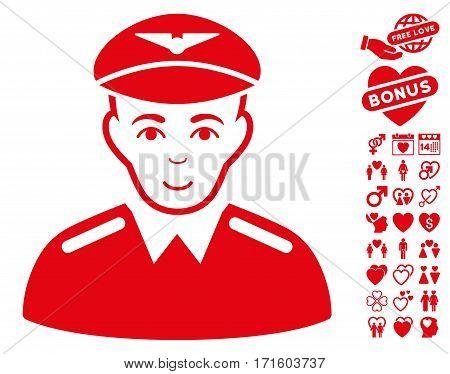 Aviator icon with bonus dating icon set. Vector illustration style is flat iconic red symbols on white background.