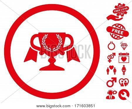 Award Cup icon with bonus valentine clip art. Vector illustration style is flat iconic red symbols on white background.