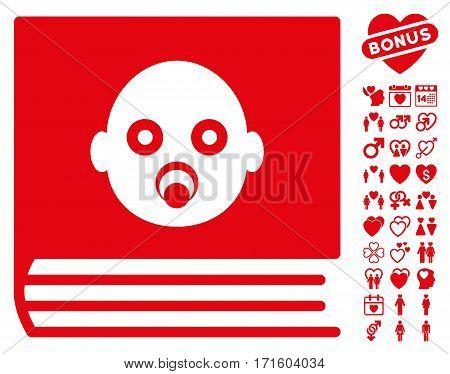Baby Album pictograph with bonus valentine design elements. Vector illustration style is flat iconic red symbols on white background.
