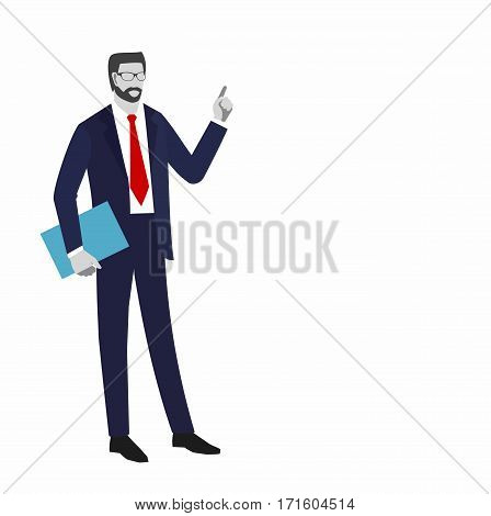Illustration of Businessman faceless  in a suit with a tie. businessman with a folder in his hand pointing up. is insulated on white background