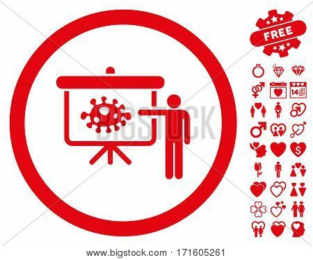 Bacteria Lecture pictograph with bonus amour pictograms. Vector illustration style is flat iconic red symbols on white background.