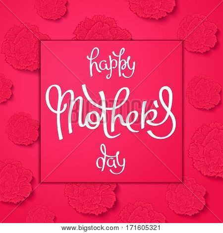 Happy Mother's Day. Floral greeting cards with styled red carnations. Vector illustration