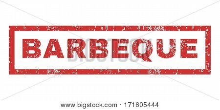 Barbeque text rubber seal stamp watermark. Tag inside rectangular shape with grunge design and scratched texture. Horizontal vector red ink emblem on a white background.