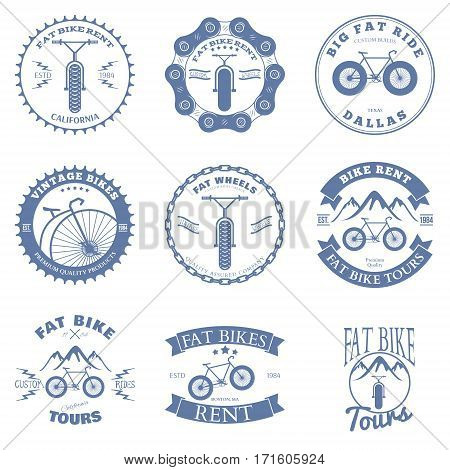 Fat Bike Rent Badges and Labels Design Elements. Vector illustration