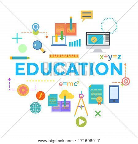 Concepts of word education. Flat design banner for website and mobile website, easy to use and highly customizable. Vector illustration
