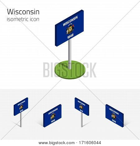 Flag of Wisconsin (State of Wisconsin, USA), vector set of isometric flat icons, 3D style, different views. Editable design element for banner, website, presentation, infographic, poster, map, collage