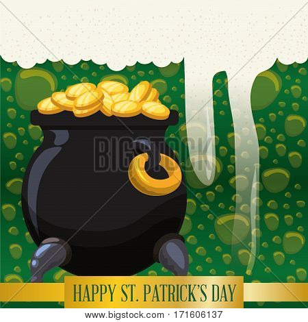 happy st patricks day pot gold coins bubbles beer background vector illustration eps 10