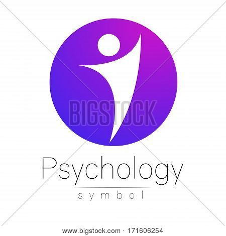 Modern man Sign of Psychology. Human in a circle. Creative style. Icon in vector. Design concept. Brand company. Violet pink gradient color isolated on white background. Symbol for web.
